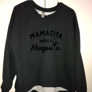 Green tea Crew neck Mamacita margarita high low LG